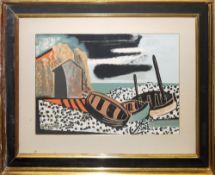 Georges Braque, Fischerboote am Strand, Farblithographie, aufwändig gerahmt<