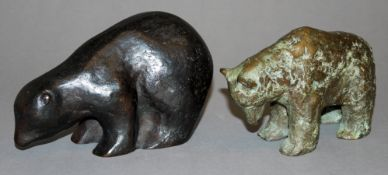 Mechthild Born & anonymer Bildhauer, Bären, 2 Bronzeplastiken<
