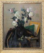 """Leon Alexandru Biju, Stillleben mit weißen Rosen, Ölgemälde, """"Impressionistenrahmen""""L"""