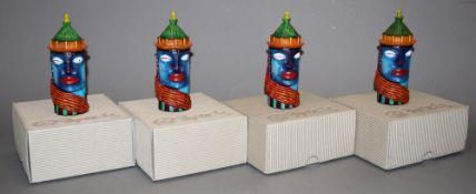 Clemens Briels, 4 weibliche Turmgesichter, farbiger Kunststeinguss, signiert, von 2007, in