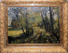 Anonymer deutscher Impressionist um 1900/1910, Sonnenbeschienener Waldweg im Frühling, Ölgemälde,