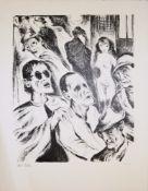 """Albert Birkle, Die Blinden (""""Auf der Straße""""), signierte Lithographie von 1976, o. Rahmen<br"""