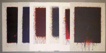 Bernd Berner, verlaufende Flächenräume, 6 Farblithographien der 1990-er Jahre, alle sign.<b