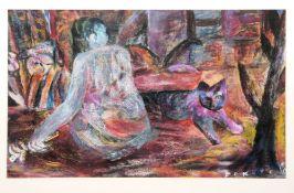 Esteban Fekete & Gianni Testa & Fritz Genkinger, 1 Pastellkreide & 2 große Lithographien, alle 3