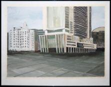 Michael Bach, Großstadtarchitektur, Ölgemälde von 1991, gerahmt