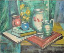 Jean Cheller, Stillleben mit Vasen und Büchern, signiertes Ölgemälde, o. Rahmen