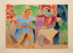 Anonym, 1920er Jahre, Zwei Frauen im Gespräch, Aquarell