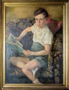 Emil Dielmann, Knabenportrait, Ölgemälde von 1946, gerahmt
