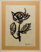 Abidin Elderoglu, Kalligraphische Komposition, Mischtechnik von 1962, alte Rahmung