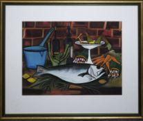 Bernard Buffet-Interpret, Stillleben mit Fisch und Küchenutensilien, Pastell, ansprechend