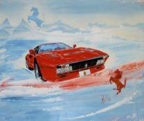 Ferrari-Gemälde, Ferrari 288 GTO, Acrylgemälde von (19)91