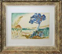 """André Derain, Paysage à l`arbre bleu, Farblithographie im französischen """"Expressionistenrahmen""""André"""