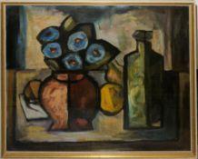 Aldo Bonadei, Stillleben mit Blumen, Früchten und einer Flasche ( Bodegón con flores, frutas y una