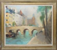 Adolf Bode, Brücke mit Anglern, Ölgemälde, gerahmt