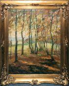 Engelmann 1. H. 20. Jh., Herbstwald, großes Ölgemälde in prächtigem Goldstuckrahmen