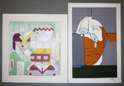 Valerio Adami & Adam Lude Döring, 2 moderne Farbserigraphien, beide signiert, o. Rahmen