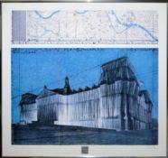 "Christo & Jeanne-Claude, ""Wrapped Reichstag"", große signierte Farboffsetgraphik"