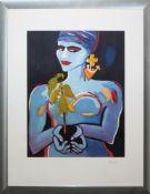 Elvira Bach, Selbstbewusste Frau mit Topfpflanze, große Farblithographie, sign.