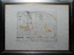 "Salvador Dali, ""Diane de Poitiers"", Kaltradelradierung mit Farbaquantinta, 1974"