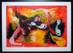 Rudi Baerwind, Musikinstrumente II, Ölgemälde von 1969, ansprechend gerahmt