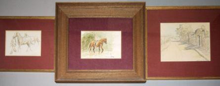 Otto Dill, Rennpferde, Reiter und Straße an Feldern und Gärten, drei Zeichnunge