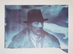 Joseph Beuys, Selbstbildnis mit Mantel und Hut, signierte Farboffsetlithographi