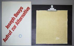 """Joseph Beuys, """"Aufruf zur Alternative"""" & Klemmbrett mit Schlitten, 2 signierte"""
