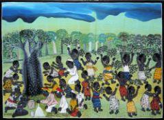 "Mohamed Charinda ( African Contemporary ""Tingatinga"" Art ) , Regentanz, Ölgemäl"