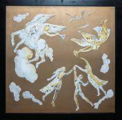 Salvador Dali, Porzellan-Wandplatte Himmelsreigen mit Engeln und Menschen, Rose