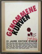 """""""Genommene Kurven, 20 Jahre Edition Staeck"""", mit Autograph Joseph Beuys, 1985,"""