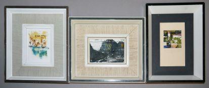 Joachim Berthold, drei kleine Landschaften, Acryl, von 1980, gerahmt