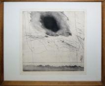 Karl Bohrmann, Abstrahierte Landschaft, signierte Aquatintaradierung, frühe 196