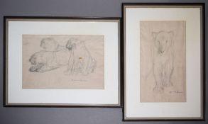 Otto Dill, Zwei Löwenstudien, Bleistiftzeichnungen, gerahmt