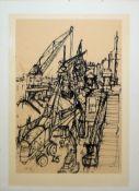 """Hans Borchert, """"Durchschwung"""", Farblithographie von 1993, Atelierrahmen & Unles"""