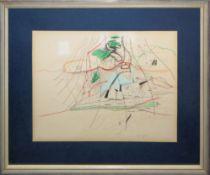 Peter Brüning, Abstrakte Zeichnung von (19)65, gerahmt