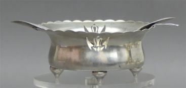 Ascher 800er Silber, auf 4 Füßchen, Art Deco, rund, ca 90g, d 10 cm,