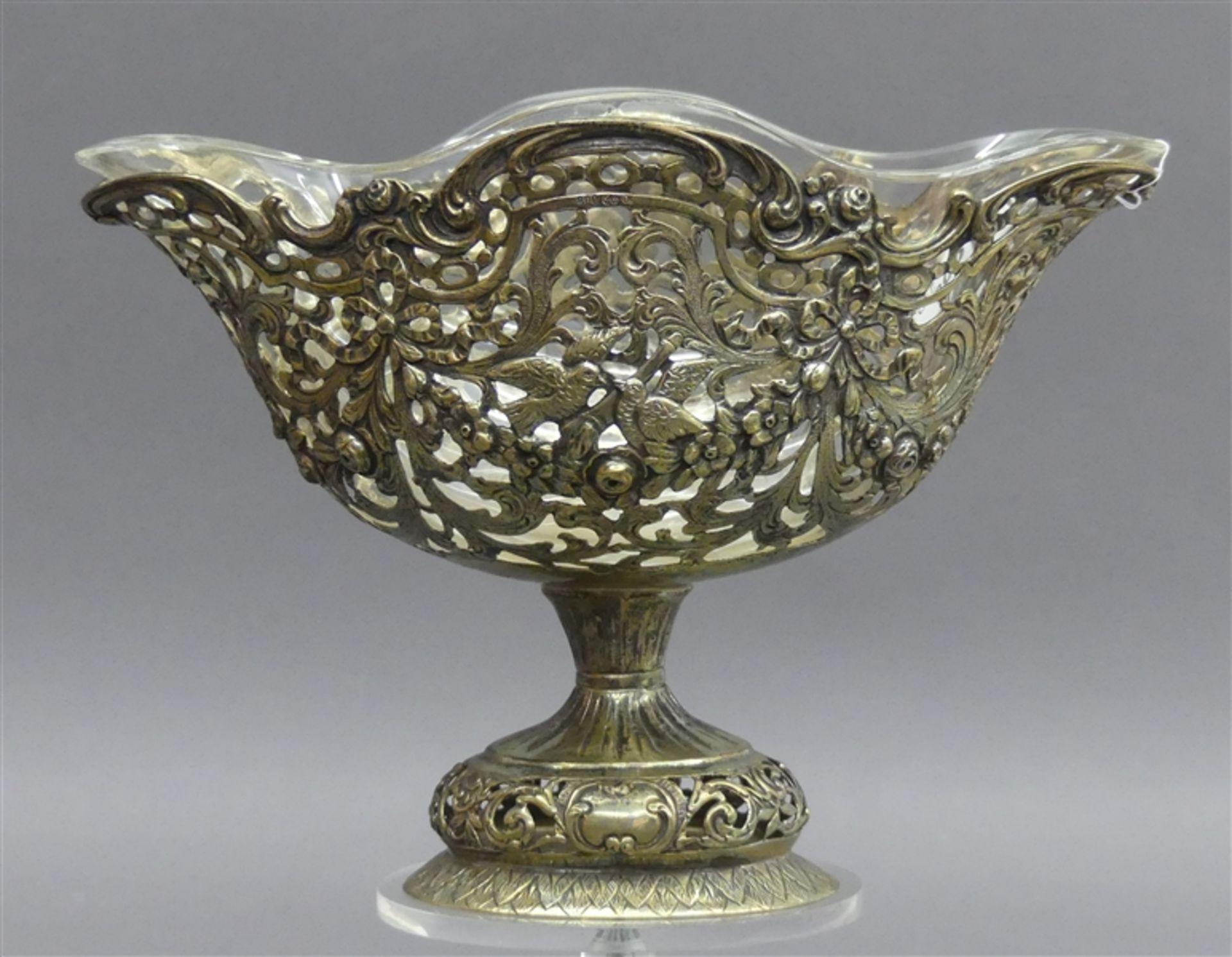 Konfektschale Silber, durchbrochener Rand, Turteltauben und Blüten, durchbrochen gearbeiteter
