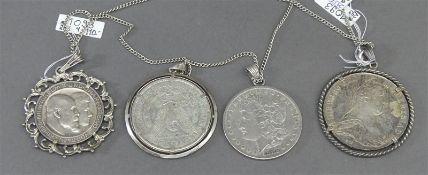 4 Münzen als Anhänger, Silber, 2x One Dollar, 1x Drei Mark, Deutsches Reich, 1x Maria Theresia, 1x
