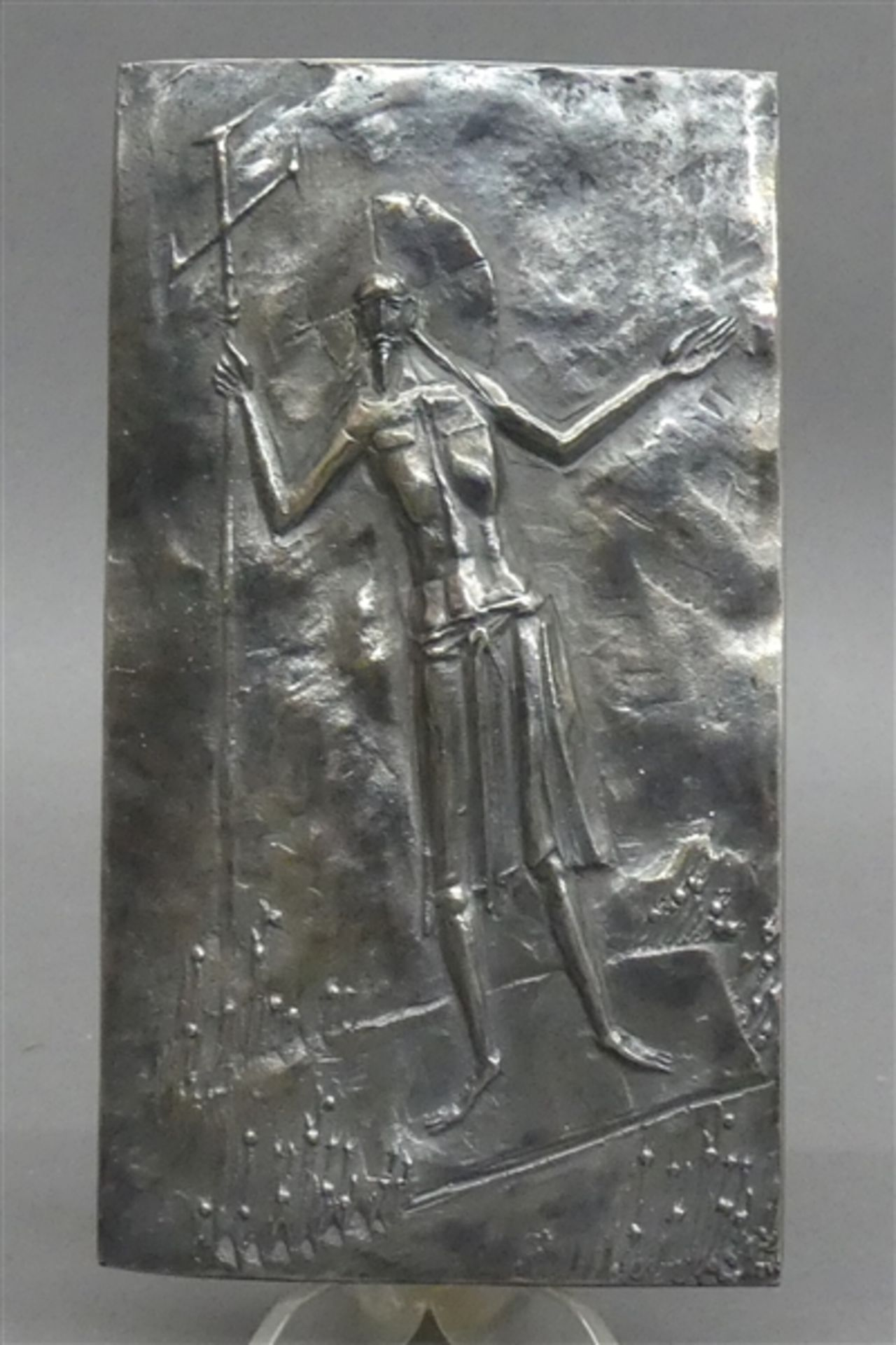 """Relieftafel Silber, von Max Faller, 1927 Neuburg a.D. - 2012 München, """"Auferstehungschristus"""", ca"""