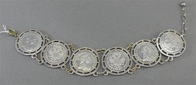 Münzarmband Silber, 6x Maria Theresia, ca 39g, l ca 18 cm,
