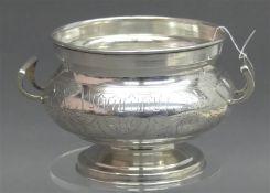 Zuckerschale, 1890 Russland, Silber, Moskau, graviert, rund, seitliche Henkel, ca 186g, h 8 cm,