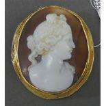 Camee Muschelschnitzerei, Damenporträt, um 1880, beschädigt (Muschelstück abgebrochen), im