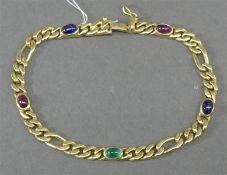 Armband 14 kt. Gelbgold, 5 Cabochons, Rubin, Saphir und Smaragd, Panzerform, Kastenschloss mit