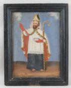 Heiliger Nikolaus, Öl auf Leinwand, gerahmt, signiert, 19. JH, 45x35,5cm