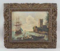 Neapolitanische Hafenstadt mit Segelboot, Öl auf Leinwand, geschnitzter Prunkrahmen, 19.<