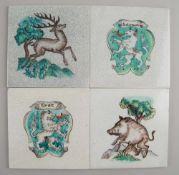 Vier Platten, Keramik, Österreich, Franz von Zülow, Schleiss Keramische Werkstätten,<br
