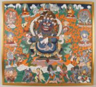 Tibetanische Thanka / Thanga auf zartem Stoff gemalen, fixiert auf Holzplatte, sehr