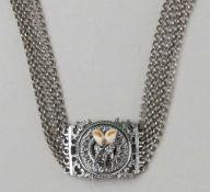Zarte Kropfkette, Silber mit Gandeln, L 34 cm
