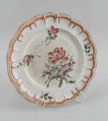 Keramikteller, floral bemalt, Altersspuren, verso gemarktet, Durchmesser 24,5cm