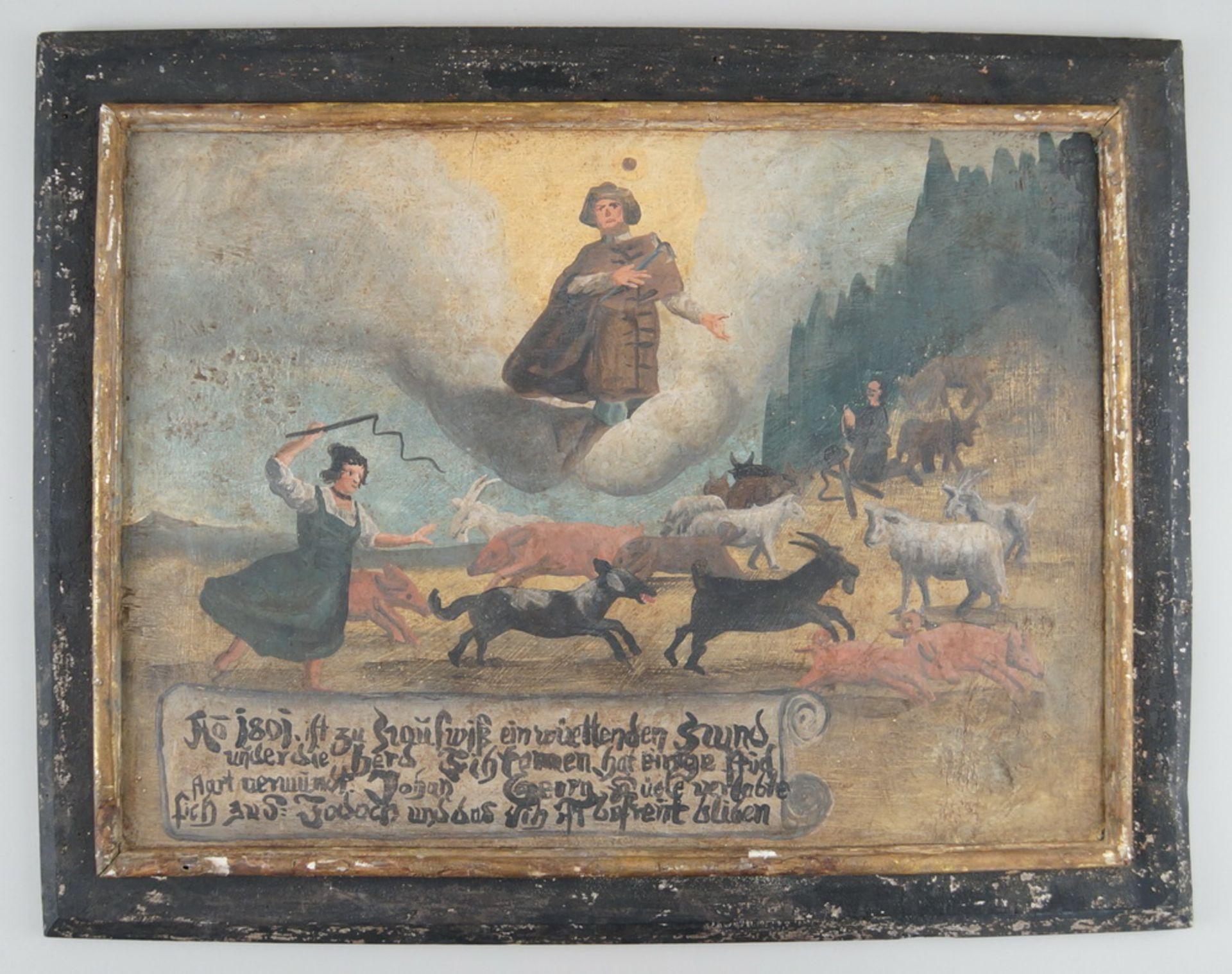 Grosse Votivtafel, Holz bemalt, datiert 1801 mit Sinnspruch, 45,5x58cm